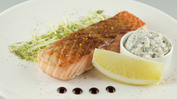 grilled salmon with sour cream sauce Footage
