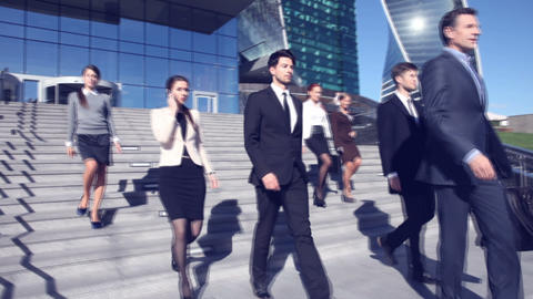 Business people go down stairs Footage