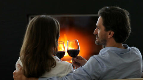 Romantic Couple Drinking Wine stock footage