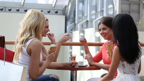 Friends talking in cafe Footage
