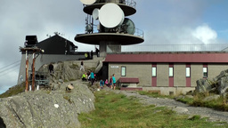 Norway City of Bergen 090 on top of Ulriken Mountain with building and antenna Footage