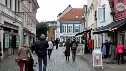 Norway City of Bergen 098 pedestrian zone in old town district Footage