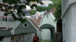 Norway City of Bergen 099 typical Scandinavian backyards of wooden houses Footage