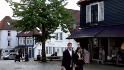 Norway City of Bergen 100 public square with cobblestones in old town Footage