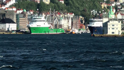 Norway City of Bergen 125 harbour entrance and old Bryggen district from seaside Footage