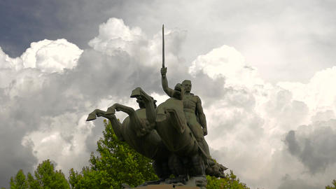 Epic and Dramatic Statue with Powerful Clouds Footage