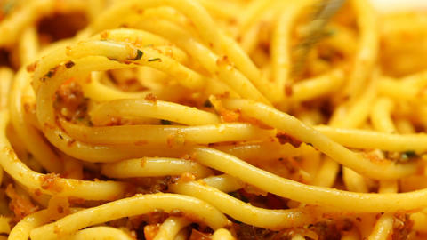 Close up of eating of pasta carbonara Footage
