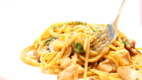 Eating of pasta carbonara Footage
