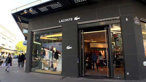 Lacoste Outlet Shop in the center of Paris. 4K Footage