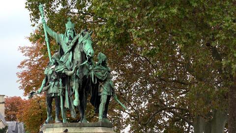 Monument at the Notre Dame Cathedral de Paris. France. 4K Footage