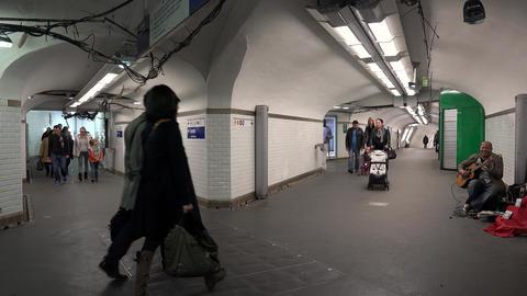 Metro Paris. Going underground. France. 4K Footage