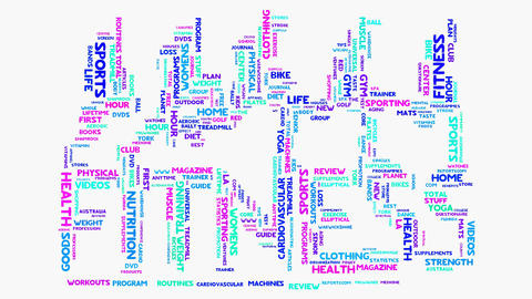 Fitness health exercise word cloud typography animation Animation