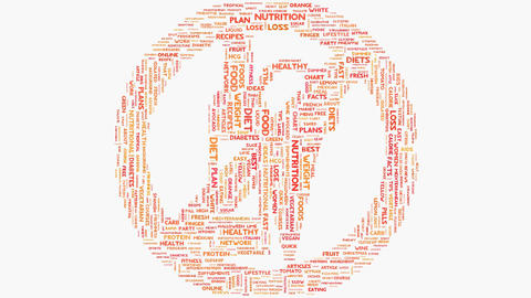 Health food nutrition words on white, healthy eating wordcloud typography Animation