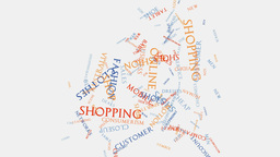 Shopping cart retail consumer shopping word cloud text... Stock Video Footage