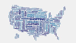 USA Shopping commerce beauty fashion word cloud text typography Footage