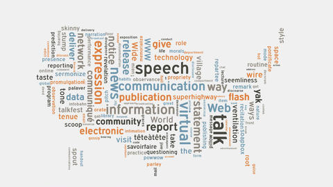 USA communication language speech concept word cloud text typography animation Footage