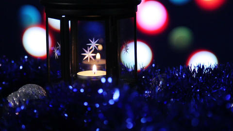 Christmas New Year Lamp with candle Background_1 Footage
