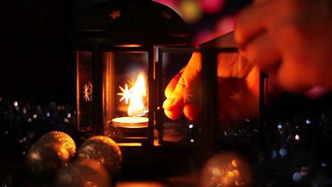 Christmas New Year Lamp with candle Background_4 Footage