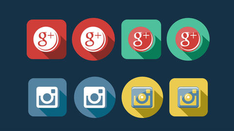 Flat Style Animated Social Icons GIF