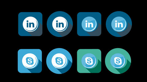 Flat Style Animated Social Icons 画像