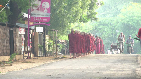 Monks charm round early morning in the streets of Bagan Live Action