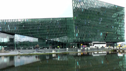 Iceland Reykjavik 082 modern opera building with mirror image in water 画像