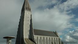 Iceland Reykjavik 050 landmark, place of interest, Church of Hallgrímur Footage