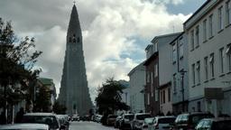 Iceland Reykjavik 055 church of Hallgrímur at end of street Footage