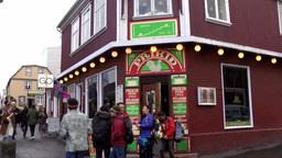 Iceland Reykjavik 071 house corner with an irish pub in downtown Footage