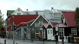 Iceland Reykjavik 076 Houses in a downtown main street Footage