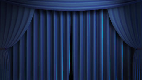 3D Blue Curtain Transition Animation