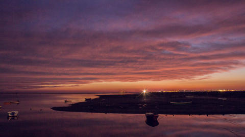 4 K Dusk Olhao Waterfront Seascape 180 Pan Timelapse 25fps Footage