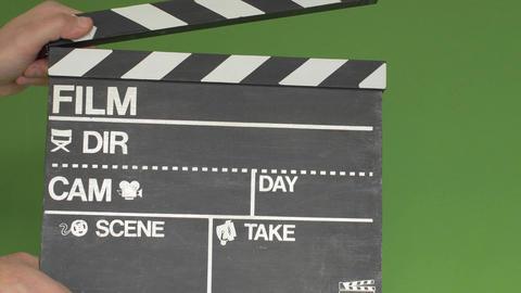 Chalkboard film slate greenscreen Footage