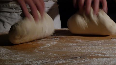 two german baker kneading bread dough spotlight dolly 4k 11737 Footage