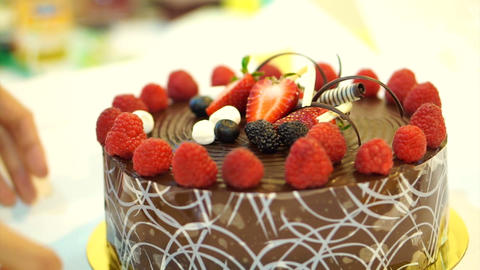 chocolate cake with strawberry Footage