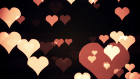 Bokeh Hearts On Black Background Animation