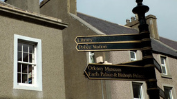 Scotland Orkney Islands Kirkwall 004 close up of artful direction signs Footage
