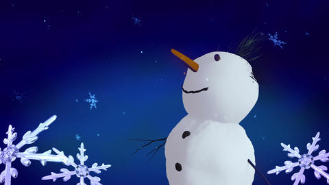 Snowmen and Christmas Snowflakes Animation