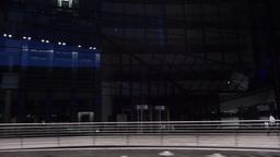 Vehicle Shot of Stuttgart Building Facades at Night Live Action