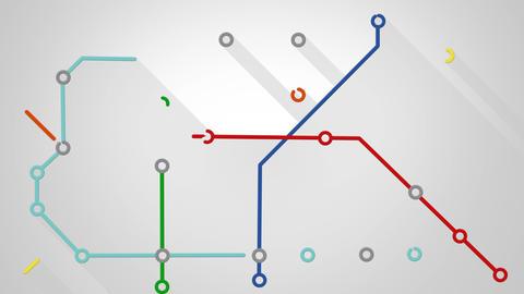 subway transport scheme animation 4k (4096x2304) Stock Video Footage