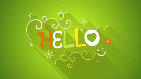 hello text greeting animation flat style last 5s loop 4k (4096x2304) Animation