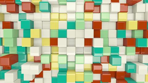 colorful 3D cubes waving seamless loop Animation