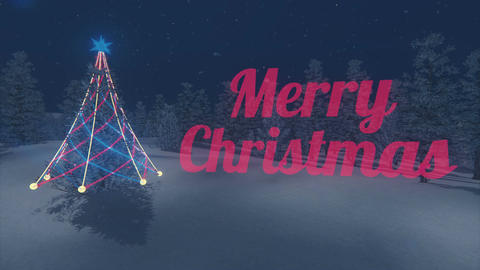 Iridescent Merry Christmas and Christmas tree Loopable Animation