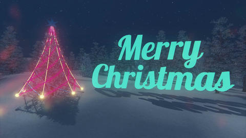 Merry Christmas and illuminated Christmas tree Loopable CG動画素材