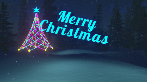 Merry Christmas night animation Stock Video Footage