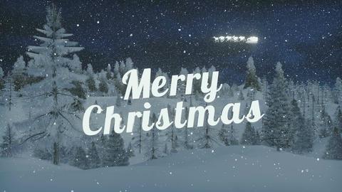 Animated Merry Christmas and Santa's sleigh at snowfall night Animation