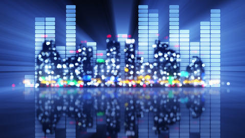 blurred equalizer and night city loopable party animation 4k (4096x2304) Animation