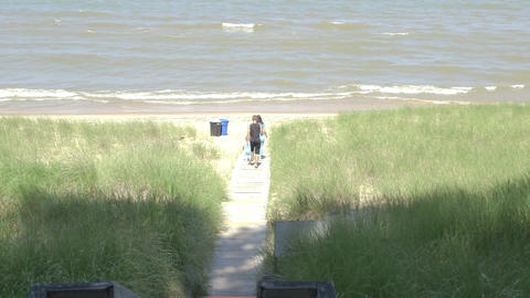 Lake front summer beach scenery Footage