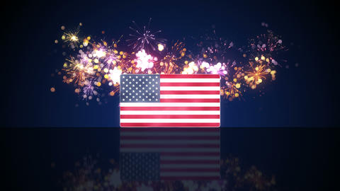 USA flag and fireworks on background loop 4k (4096x2304) Animation