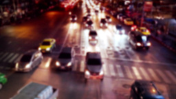 Busy city street night view with moving cars. Abstract cityscape Footage